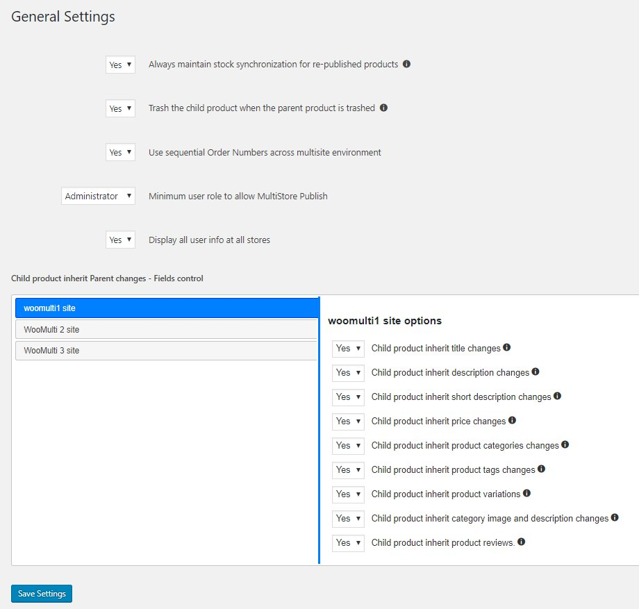 woocommerce multistore general plugin settings